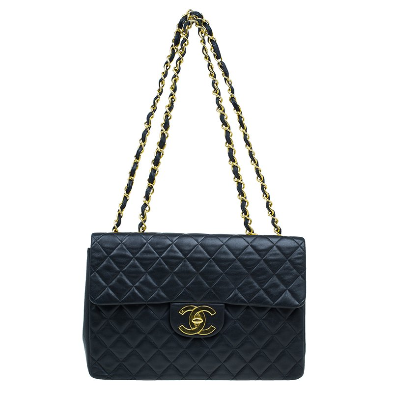 522a7c686a2f ... Chanel Black Quilted Lambskin Maxi Vintage Classic Single Flap Bag.  nextprev. prevnext