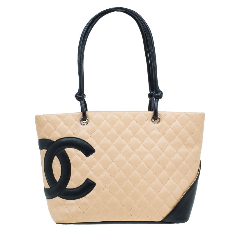 1ae58a1a4dde Buy Chanel Beige/Black Quilted Leather Large Ligne Cambon Tote Bag ...