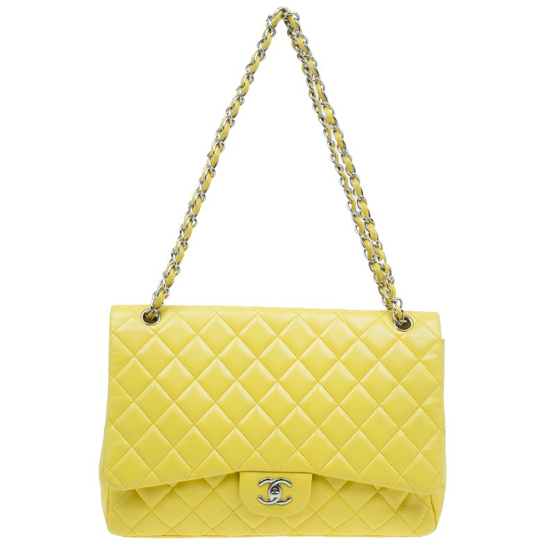 2540359a7ab6fb ... Chanel Yellow Quilted Lambskin Leather Classic Maxi Single Flap Bag.  nextprev. prevnext