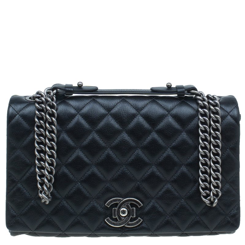 f956ca8e9e6c Buy Chanel Black Quilted Goatskin Leather City Rock Flap Bag 43860 ...