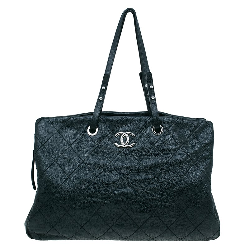 Buy Chanel Black Quilted Glazed Leather Large On the Road Tote Bag ...