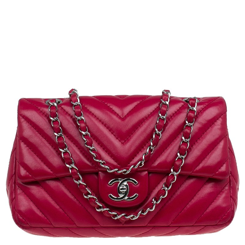 3490a5dd5cae ... Bag Nextprev Prevnext. Chanel Red Chevron Quilted Lambskin Medium Clic  Single Flap