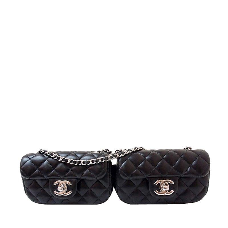 23e6a1fcf220 Buy Chanel Black Double Mini Matelasse Twin Chain Shoulder bag 44926 ...