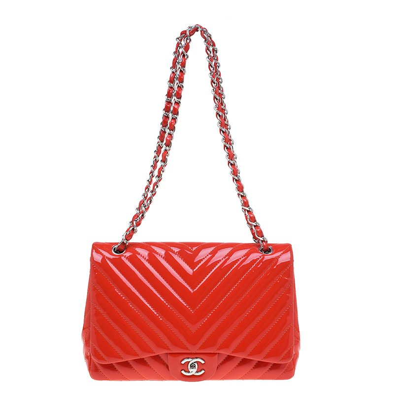 4f2f0a68fe78 Boy Chanel Handbags. Prevnext. Chanel C Quilted Patent Leather Chevron  Jumbo Clic Flap