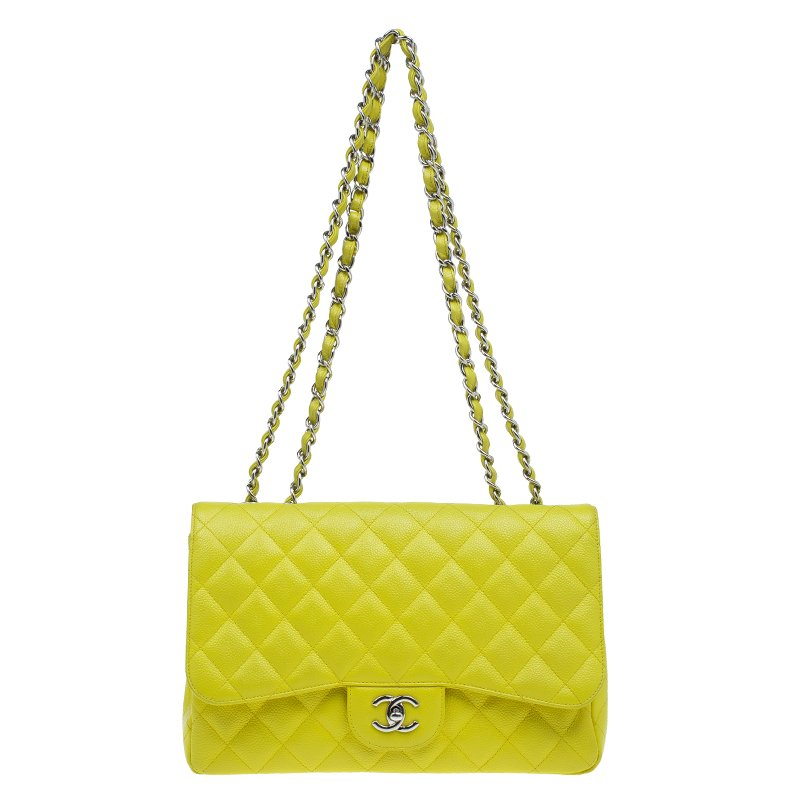 5de55c6e5ee2f9 ... Chanel Yellow Quilted Caviar Leather Jumbo Classic Single Flap Bag.  nextprev. prevnext