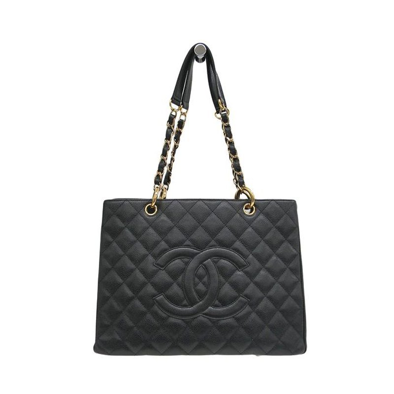 840d24c0e8 Chanel Black Quilted Caviar Leather Grand Shopping Tote