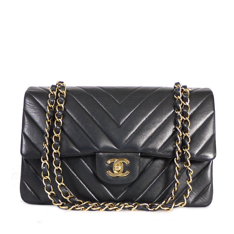 ... Chanel Black Chevron Quilted Lambskin Leather Medium Classic Flap  Shoulder Bag. nextprev. prevnext 986e14245