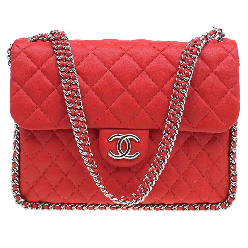 c9555f338cab0f ... Chanel Red Quilted Leather Maxi Chain Around Flap Bag. nextprev.  prevnext