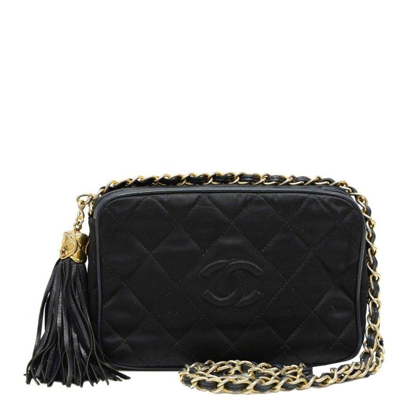 a73793f627ac ... Chanel Vintage Black Quilted Satin CC Tassel Shoulder Bag. nextprev.  prevnext