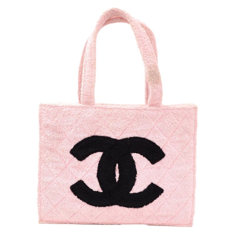 93431b01d407ea ... Chanel Vintage Pink and Black Terry Cloth CC XL Tote. nextprev. prevnext