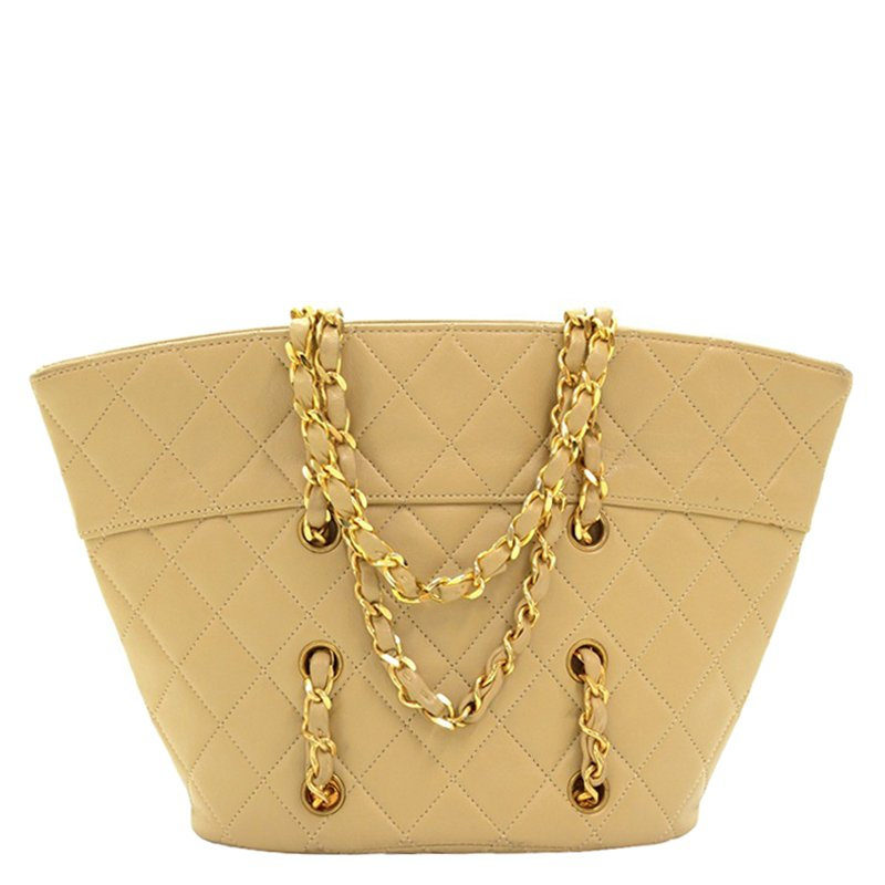 61a3352f64ff5c ... Chanel Vintage Beige Quilted Lambskin Leather Small Tote. nextprev.  prevnext