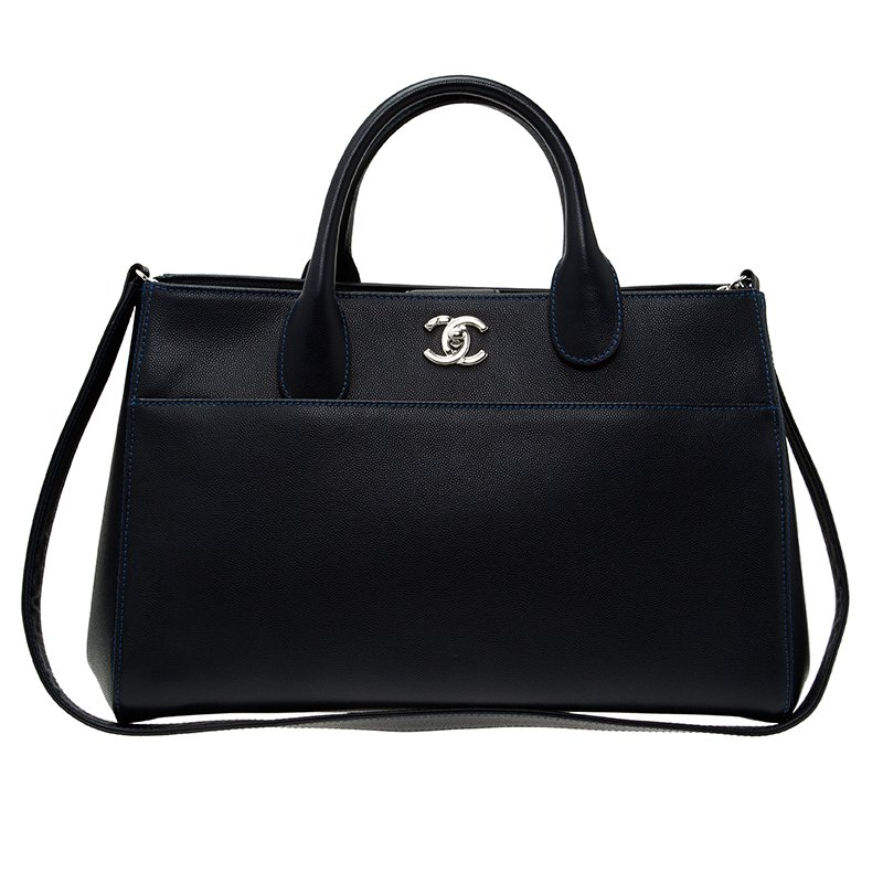 Chanel Navy Blue Caviar Leather Cerf Shopping Tote
