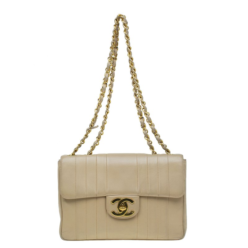 556c6b293a2b Buy Chanel Beige Vertical Quilted Leather Vintage Jumbo Classic Flap ...