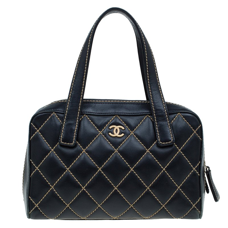 775cab9e2a390f Buy Chanel Black Quilted Leather Surpique Bowler Bag 58899 at best ...