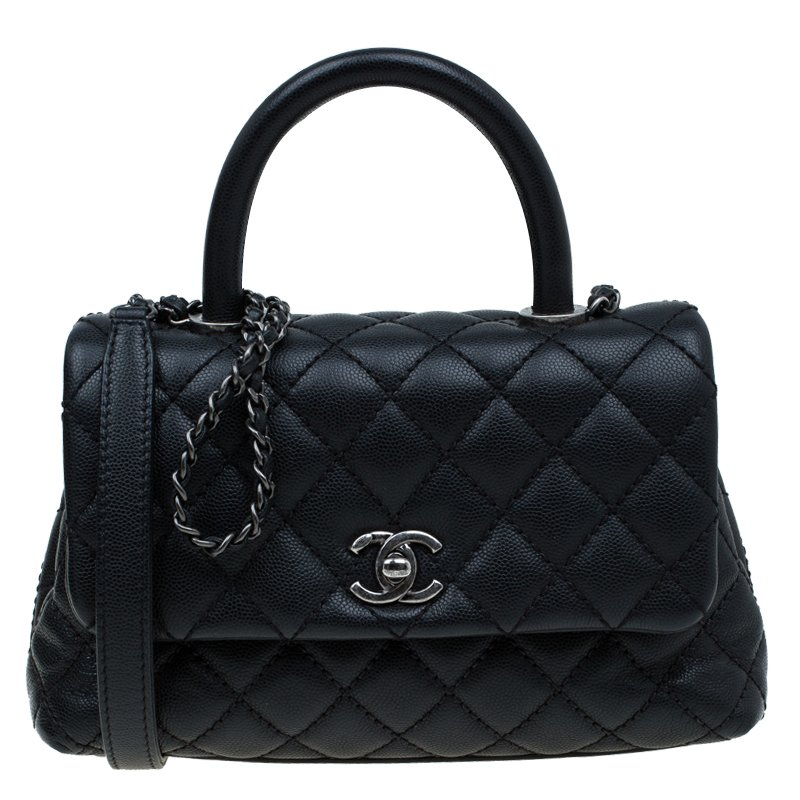 b0cf54e8eca0 ... Chanel Black Quilted Caviar Leather Mini Coco Top Handle Bag. nextprev.  prevnext