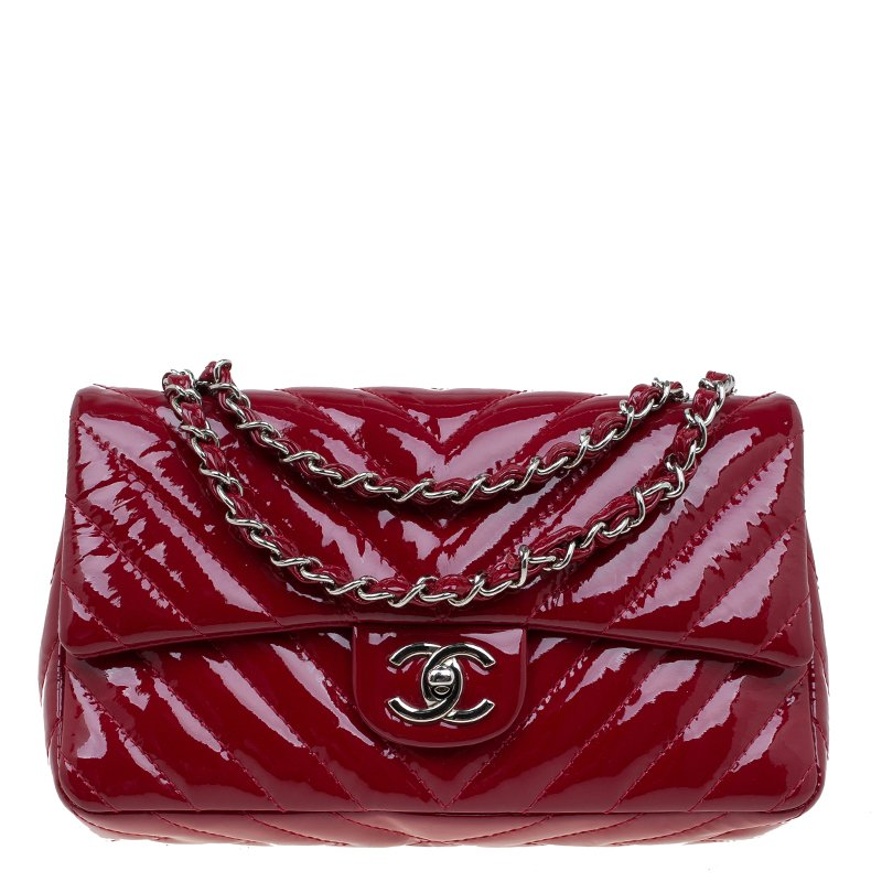 bb52d10964fd Chanel Red Quilted Patent Leather Small Chevron Clic Flap Bag