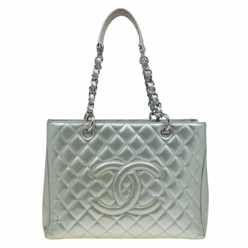 dbd325f07ac Buy Chanel Light Green Quilted Patent Leather Grand Shopping Tote ...