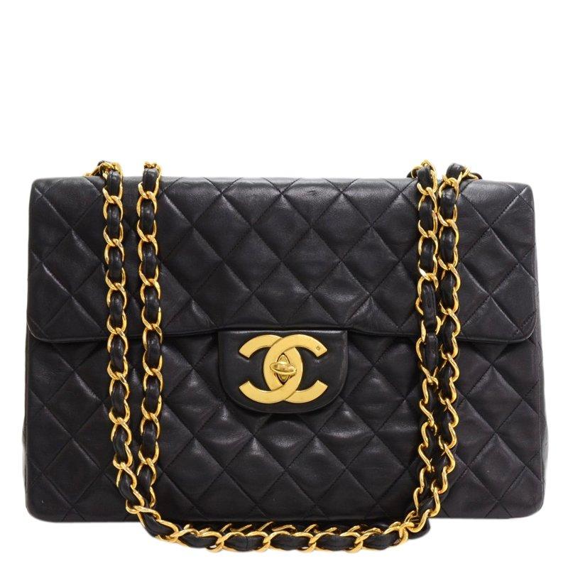 64f3237836bf ... Chanel Black Quilted Lambskin Jumbo XL Vintage Classic Flap Bag.  nextprev. prevnext