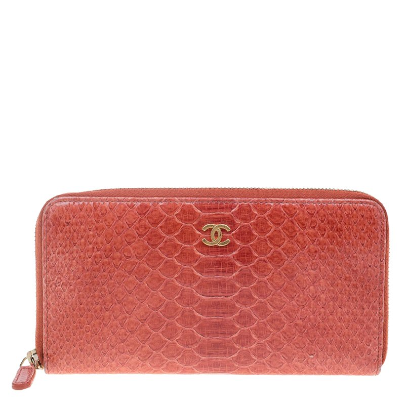 9bd11692d253 Buy Chanel Brown Python Zip Around Wallet 63495 at best price | TLC