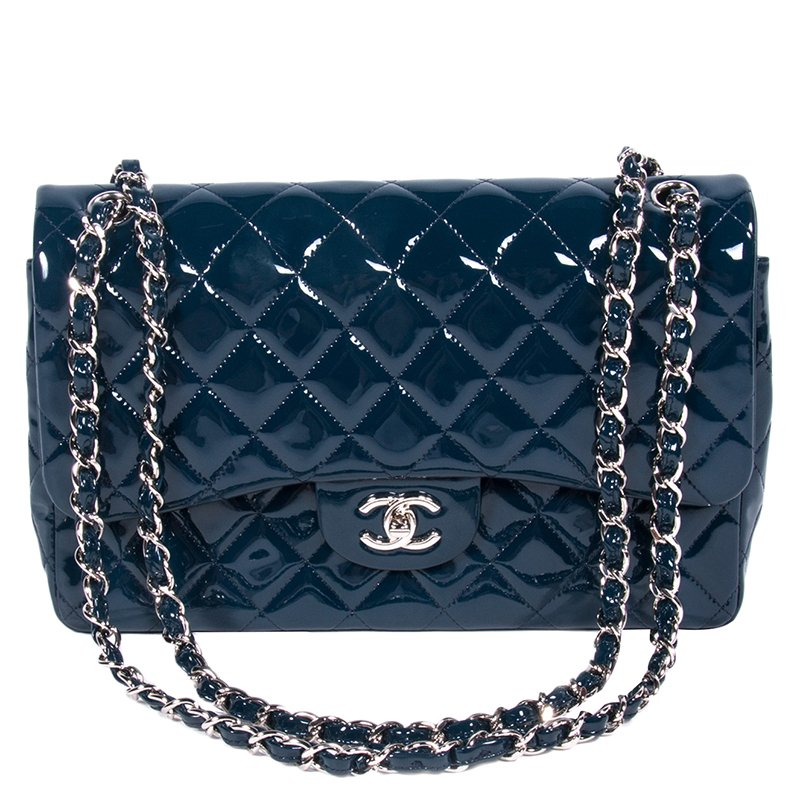 2bec761f8f0d ... Chanel Dark Blue Quilted Patent Leather Jumbo Classic Double Flap Bag.  nextprev. prevnext