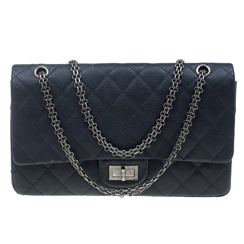 d5ebaebc799d Buy Chanel Navy Blue Quilted Caviar Leather Reissue 2.55 Classic 227 ...