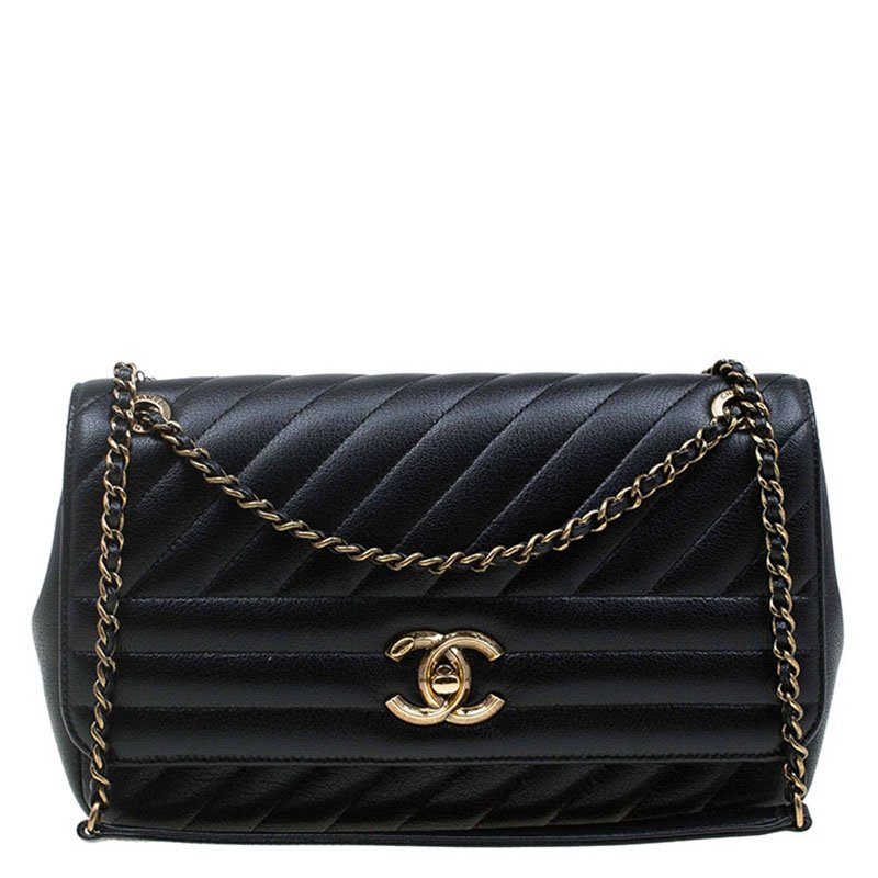 d7cb410858bf Buy Chanel Black Diagonal Quilted Leather Medium Classic Single Flap ...