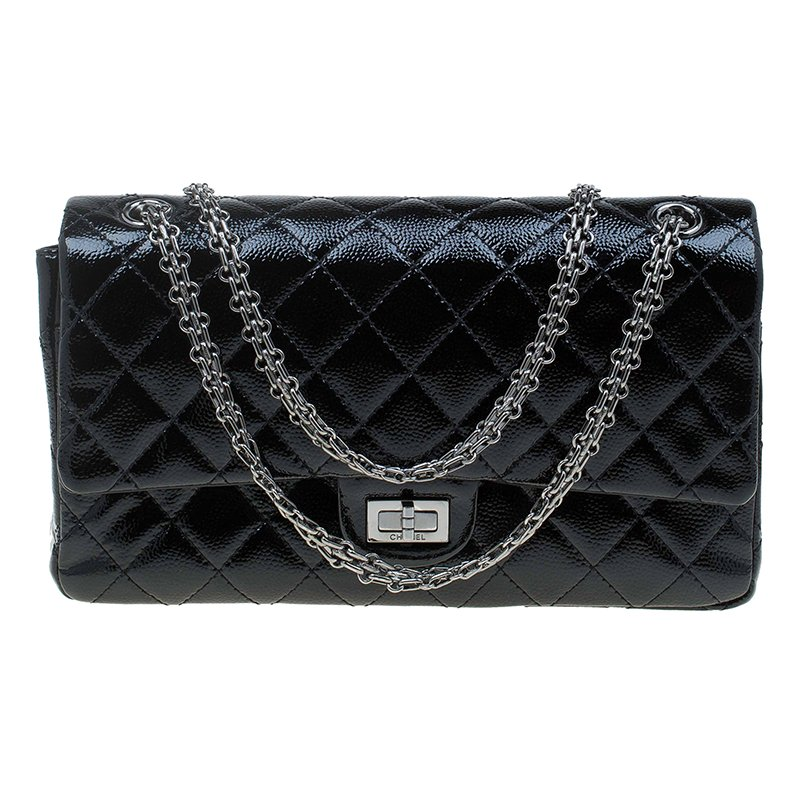 Buy Chanel Black Patent Leather 2.55 Reissue Classic 225 Flap Bag ... 28c402d362