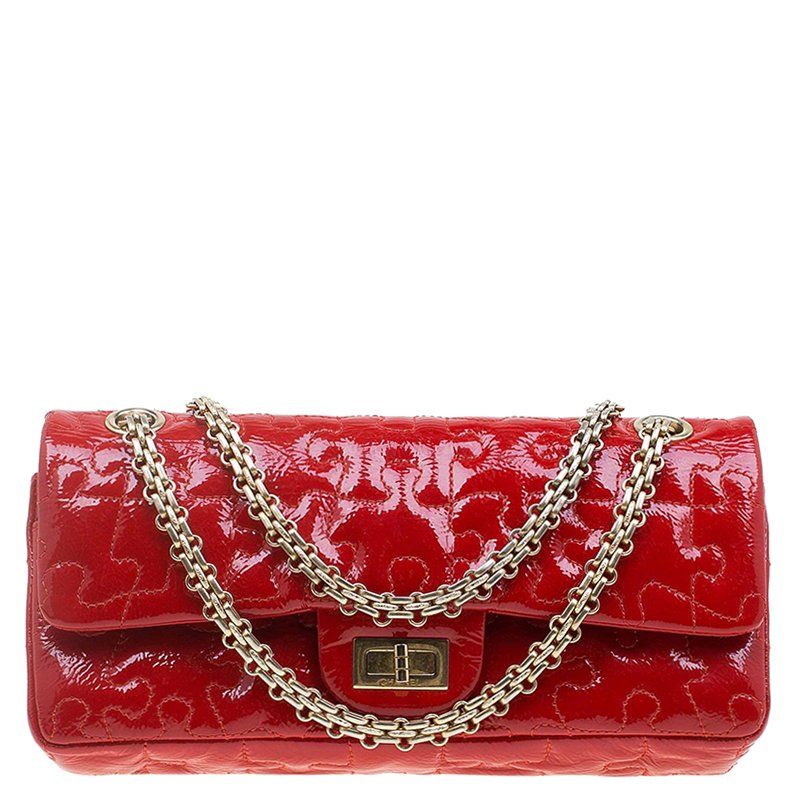 c42fd285d98f Buy Chanel Red Patent Leather Puzzle Reissue 2.55 East/West Flap Bag ...