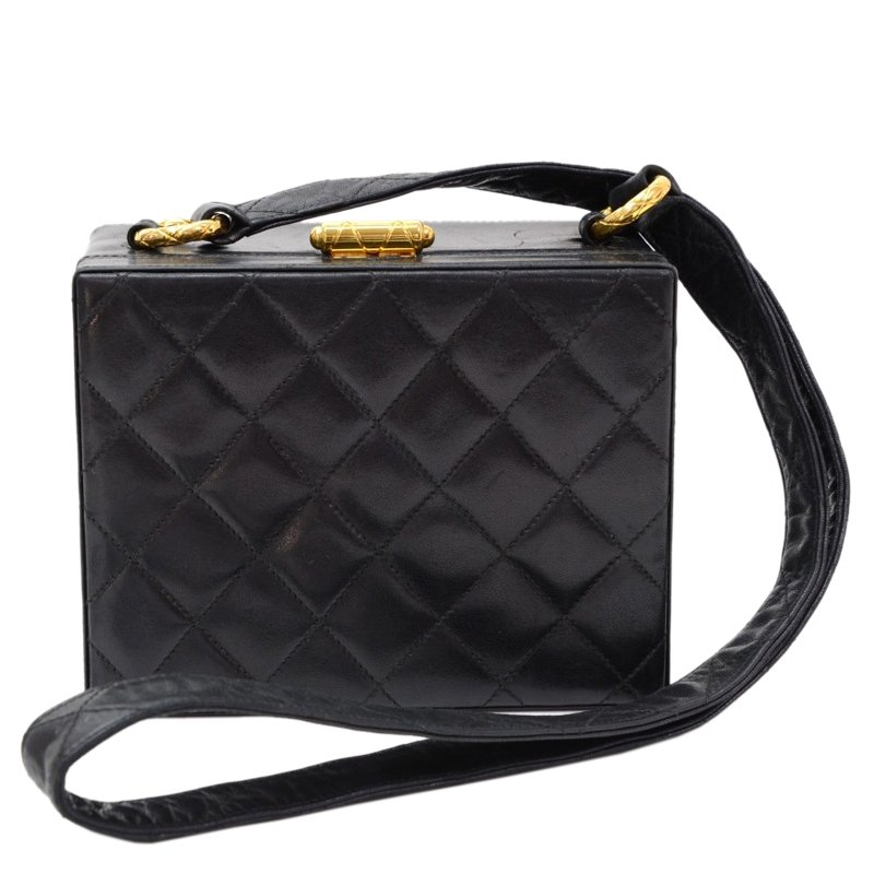 Buy Chanel Black Quilted Lambskin Vintage Box Bag 68403 at best ... fc9dc72b98162