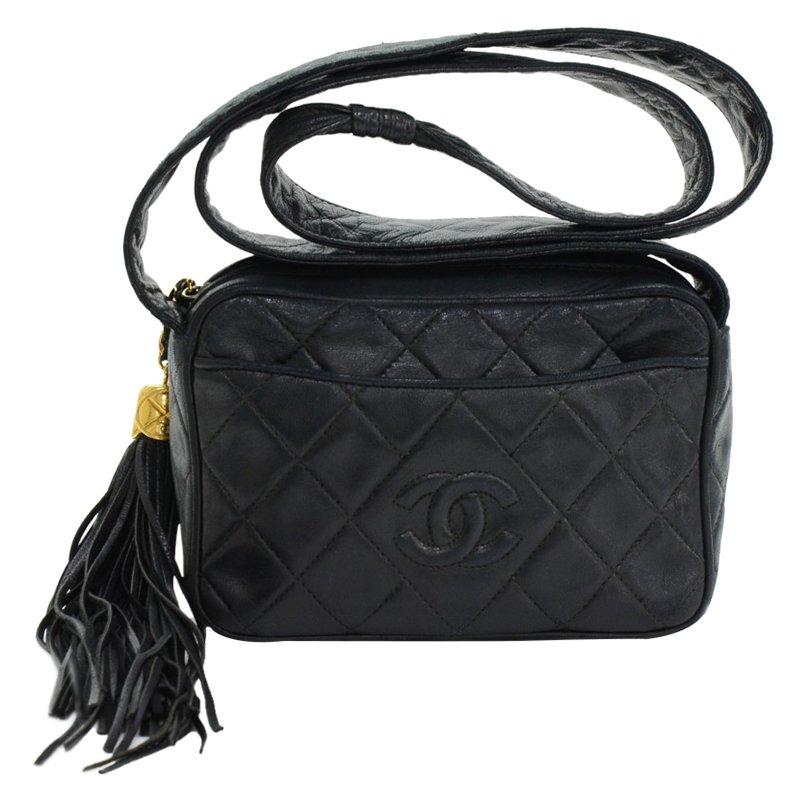 3601e91b0d10 ... Chanel Vintage Black Lambskin Fringe Shoulder Bag. nextprev. prevnext