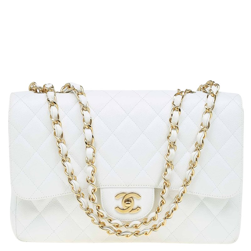 Buy Chanel White Quilted Caviar Leather Jumbo Classic Single Flap ... 6427bfa3b8