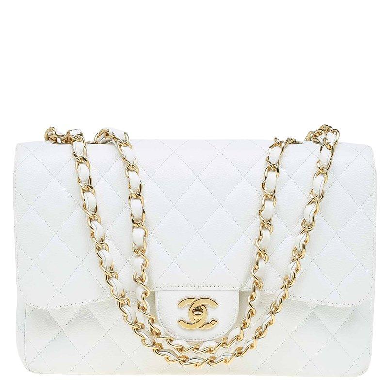 482e8e22984828 ... Bag Nextprev Prevnext. Chanel White Quilted Caviar Leather Jumbo Clic  Single Flap