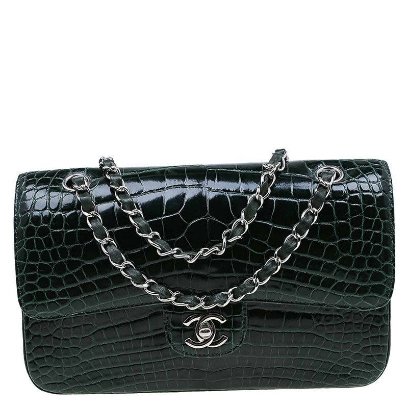 Buy Chanel Dark Green Alligator Medium Classic Double Flap Bag 70813 ... 4fcd6f642d