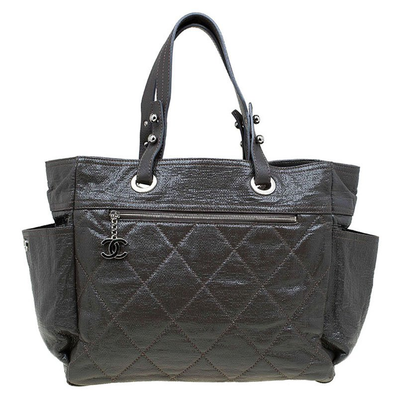 85006d3cf2af Buy Chanel Grey Quilted Glazed Leather Large Paris Biarritz Tote ...