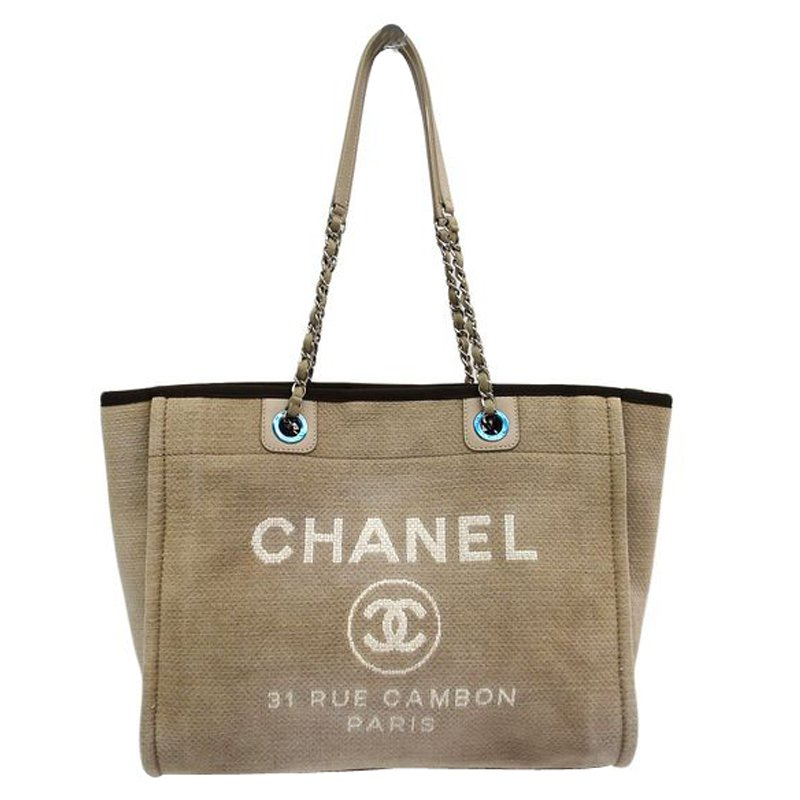 9d34859ec9e1 Buy Chanel Beige Canvas Large Deauville Shopping Tote 75022 at best ...