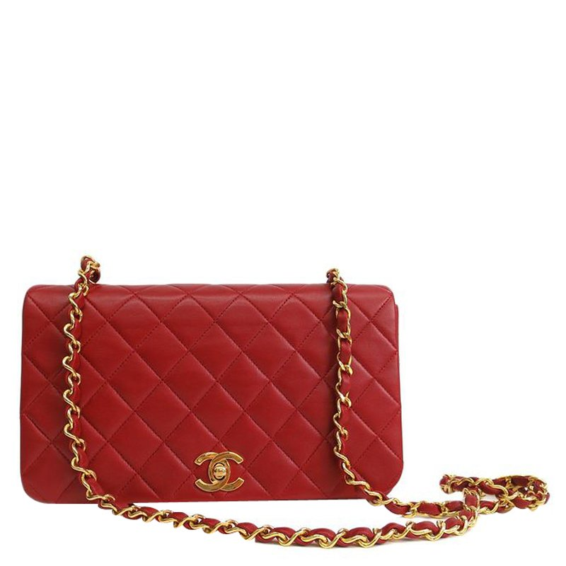 dd9fb6314c4f ... Chanel Red Quilted Lambskin Chain Flap Shoulder Bag. nextprev. prevnext