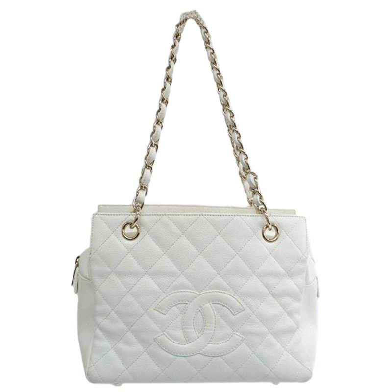 5673f592d1e5 ... Chanel White Quilted Caviar Leather Petite Timeless Shopper Tote.  nextprev. prevnext