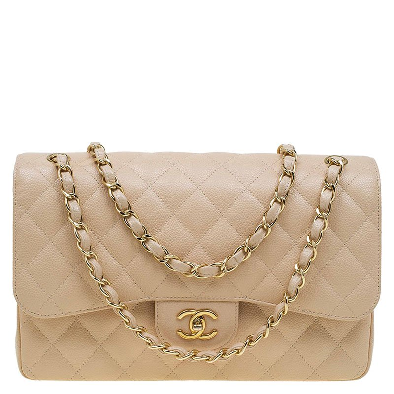 46b74c69ed48da ... Chanel Beige Quilted Caviar Leather Jumbo Classic Double Flap Bag.  nextprev. prevnext