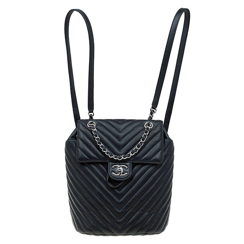 bd269f0306e27d Buy Chanel Black Chevron Leather Classic Backpack 79208 at best ...