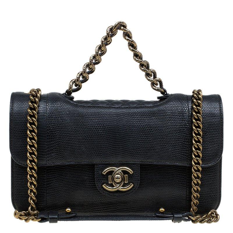 f48a8ae2c182 Buy Chanel Black Lizard Skin Medium Perfect Edge Flap Bag 79779 at ...