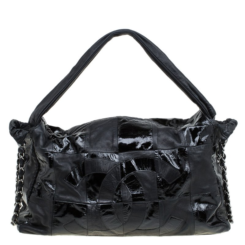 e798ed00393c ... Chanel Black Leather XL Brooklyn Ligne Patchwork Hobo. nextprev.  prevnext