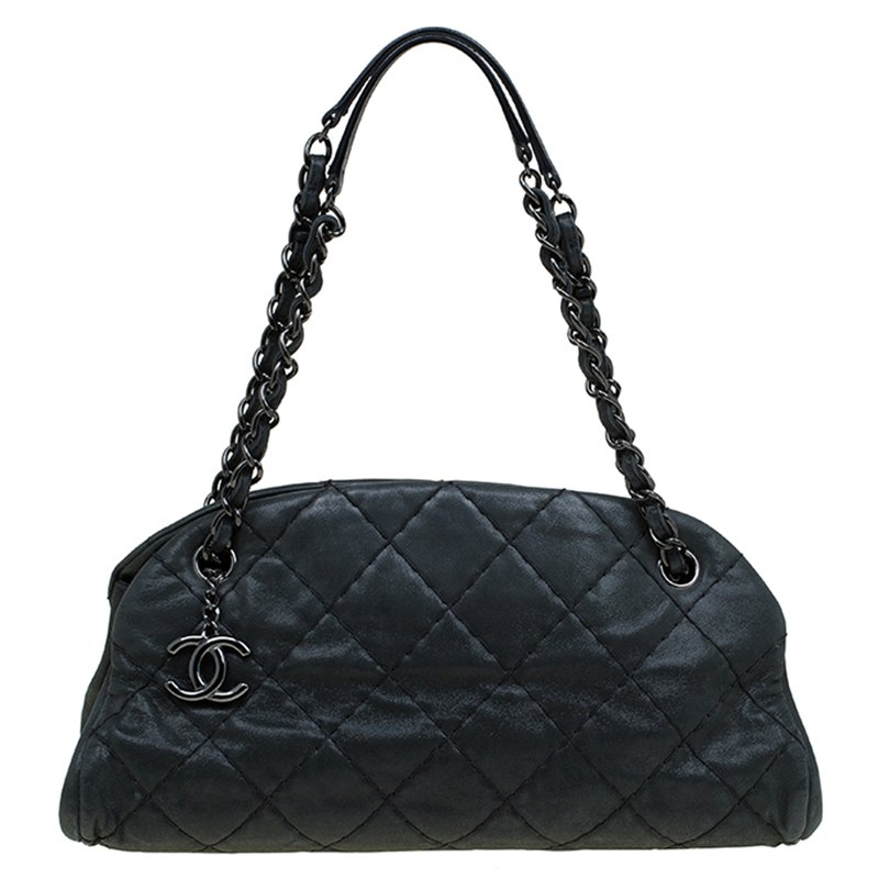 12643a41c0f1 ... Chanel Black Quilted Iridescent Leather Medium Just Mademoiselle  Bowling Bag. nextprev. prevnext