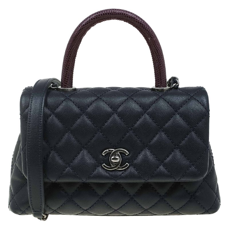 f2168dbf93da Buy Chanel Navy Blue Quilted Caviar Leather Small Lizard Handle Coco ...