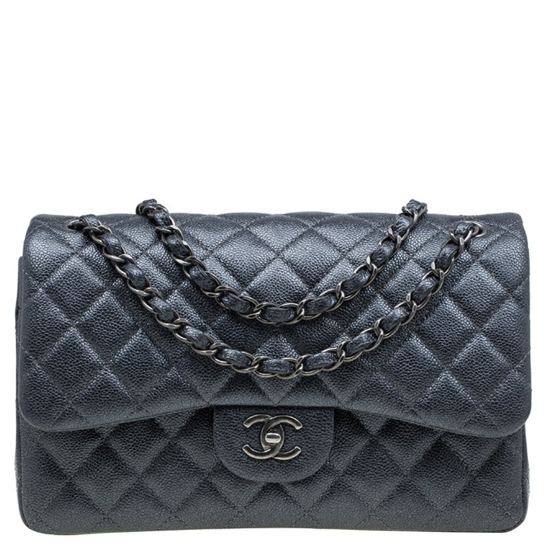 db2237d72805 Buy Chanel Metallic Grey Quilted Caviar Leather Jumbo Classic Double ...