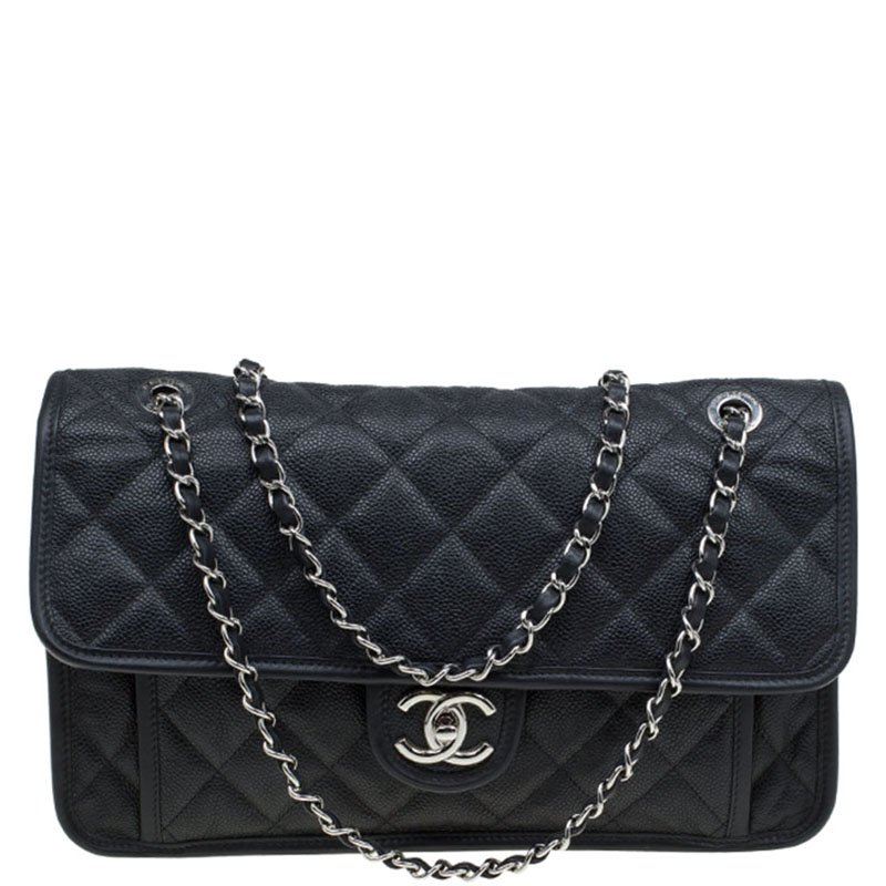 c364c7006568 Buy Chanel Black Caviar Leather Jumbo French Riviera Classic Flap ...