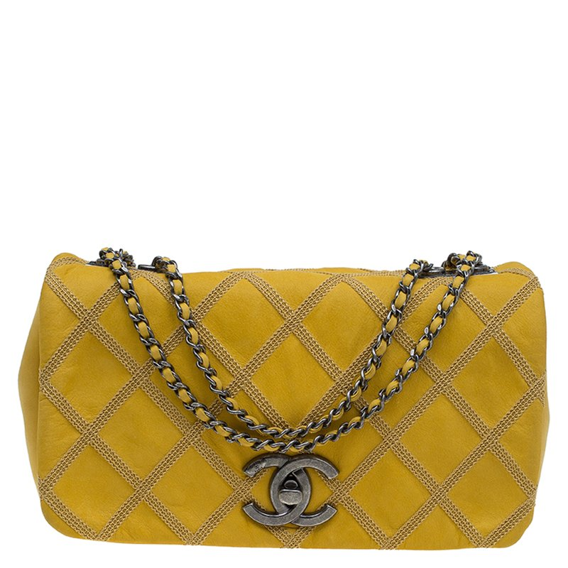 Buy Chanel Yellow Diamond Stitch Leather Small Flap Bag 84204 At bbbd362f5d093