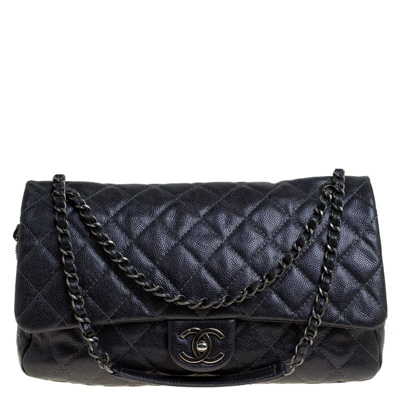 5da741e7d3f2 Buy Chanel Metallic Dark Grey Quilted Caviar Leather Large Easy Flap ...