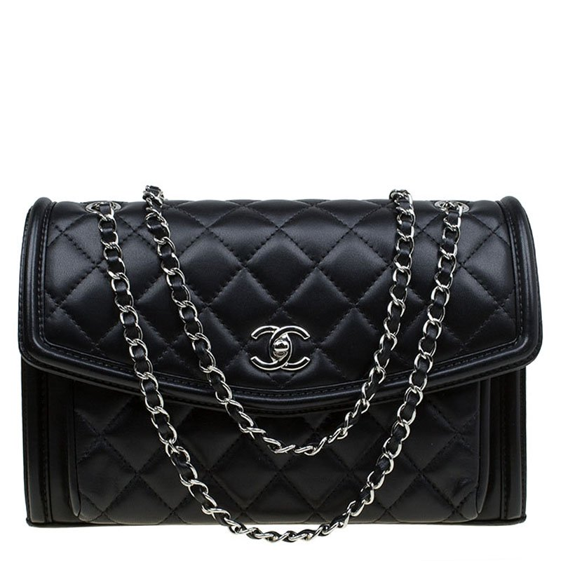 8bfb2db93c7b Buy Chanel Black Quilted Leather Front Pocket Flap Bag 85155 at best ...