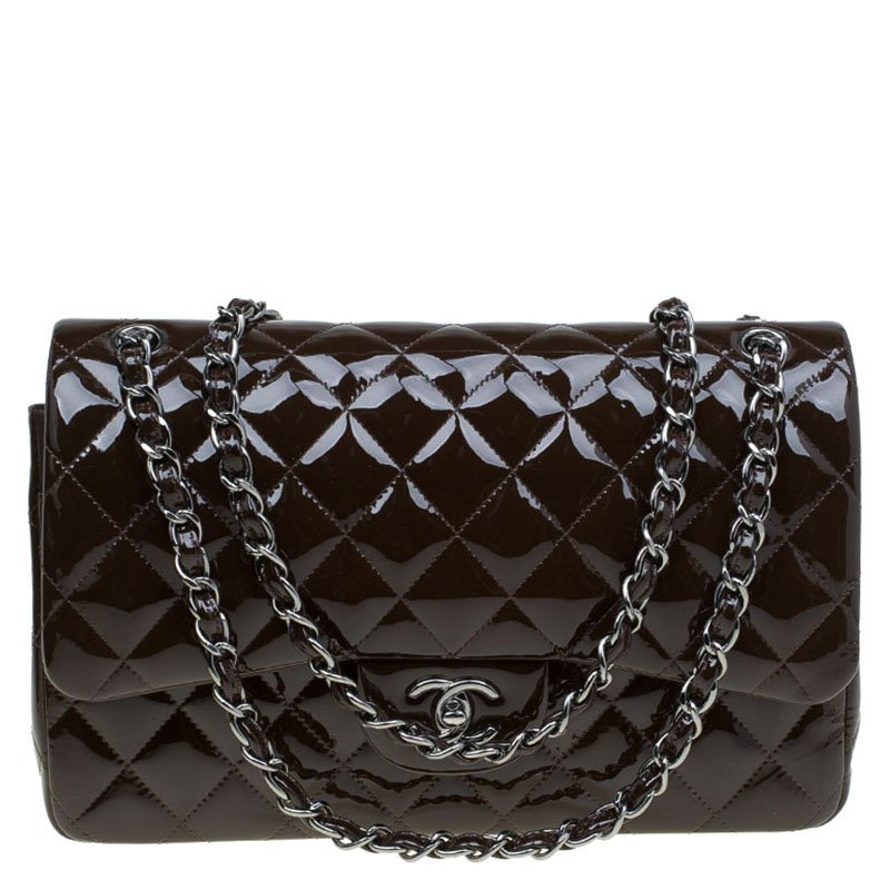 a94c07afd38c ... Bag Nextprev Prevnext. Chanel Brown Quilted Patent Leather Jumbo Clic Double  Flap