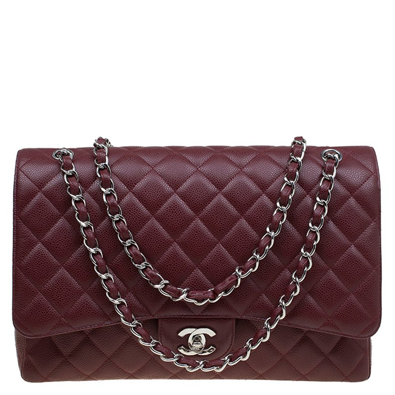 127b579ea812 ... Chanel Burgundy Quilted Caviar Leather Maxi Classic Single Flap Bag.  nextprev. prevnext